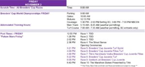 Breeders' Cup 2018 Schedule